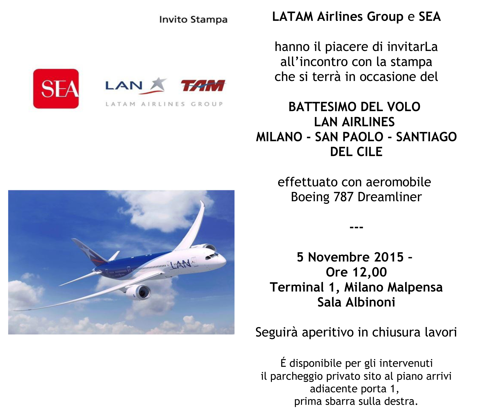 INVITO LANCIO LATAM Airlines Group